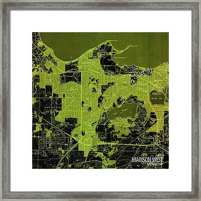 Madison West Green Old Map, Year 1959 Framed Print by Pablo Franchi