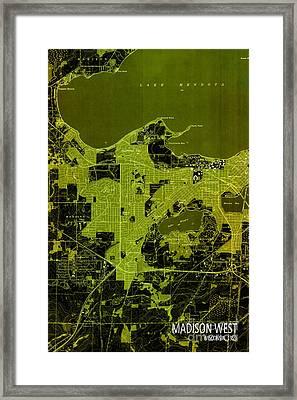 Madison West Old Map Framed Print