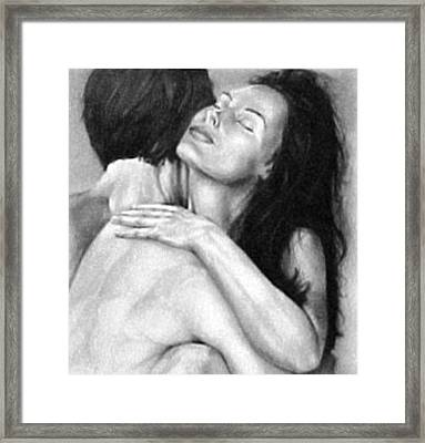Madly In Love Couple- Black And White Drawing Framed Print