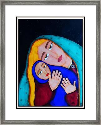 Madona With A Child Framed Print by YOLARTE Yolanda Ortiz