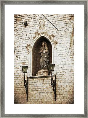 Madonna And Child Alcove Statue In  Belgium Framed Print