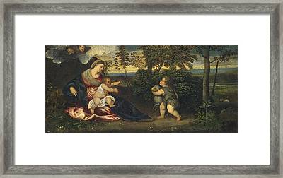 Madonna And Child And The Infant Saint John In A Landscape Framed Print by Polidoro Lanzani