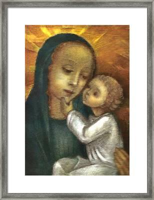 Madonna And Child Ausschnitt Framed Print