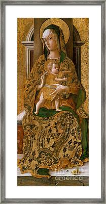 Madonna And Child Enthroned, 1472  Framed Print by Carlo Crivelli