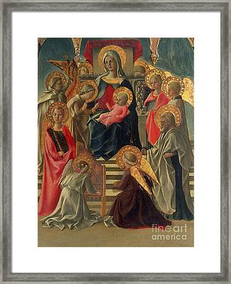 Madonna And Child Enthroned With Angels And Saints Framed Print by Fra Filippo Lippi
