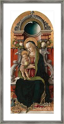 Madonna And Child Enthroned With Donor, 1470 Framed Print by Carlo Crivelli