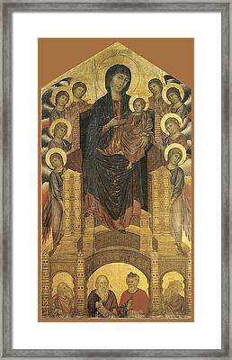 Madonna And Child Enthroned With Eight Angels Framed Print by Cimabue