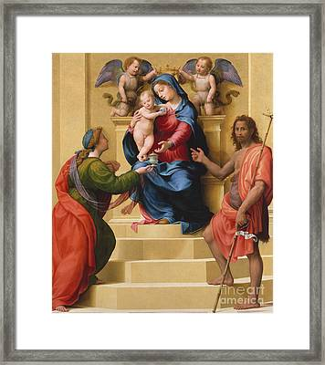 Madonna And Child Enthroned With Saints Mary Magdalene And John The Baptist Framed Print