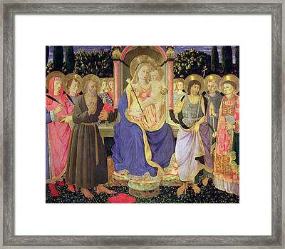Madonna And Child Enthroned With Saints  Framed Print