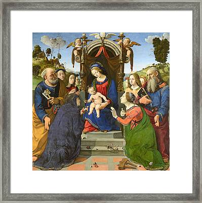 Madonna And Child Enthroned With Saints Framed Print by Piero di Cosimo