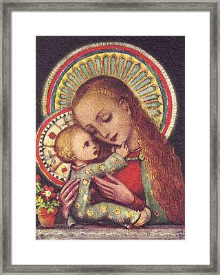 Madonna And Child Halos Framed Print by Unknown