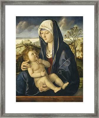 Madonna And Child In A Landscape Framed Print