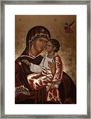 Framed Print featuring the painting Madonna And Child by Olimpia - Hinamatsuri Barbu