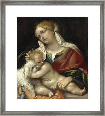 Madonna And Child With A Dog Framed Print by Moretto da Brescia