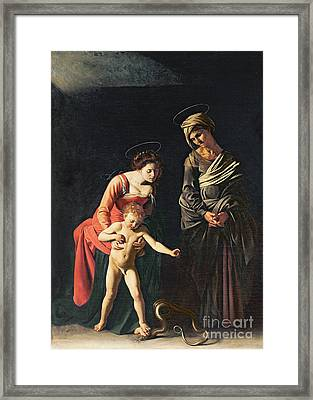 Madonna And Child With A Serpent Framed Print