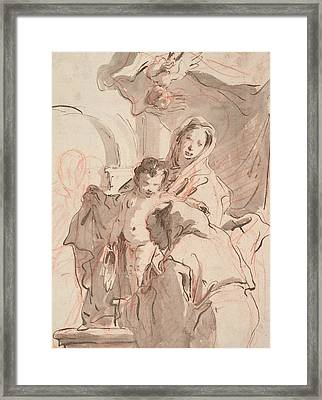 Madonna And Child With Saint Framed Print