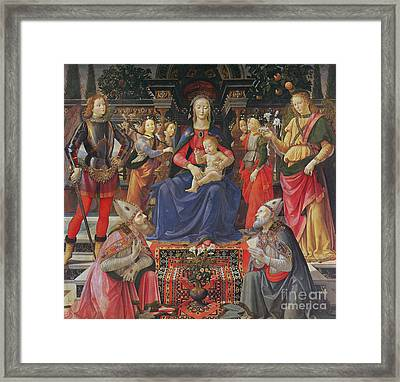 Madonna And Child With Ss Justus, Zenobius And The Archangels Michael And Raphael Framed Print by Domenico Ghirlandaio