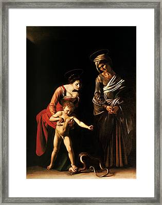 Madonna And Child With St. Anne Framed Print by Caravaggio