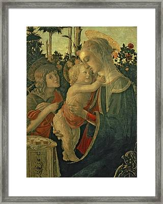 Madonna And Child With St. John The Baptist Framed Print by Sandro Botticelli