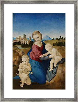 Madonna And Child With The Infant Saint John Framed Print
