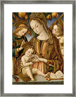 Madonna And Child With Two Angels Framed Print by Vittorio Crivelli