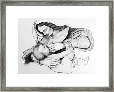 Madonna And Christ Framed Print by Gabriela Junosova