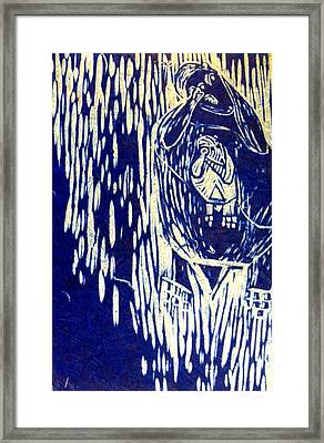 Madonna And Otter Baby In Blue Framed Print