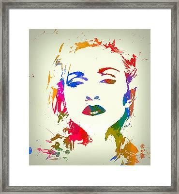 Madonna Color Paint Splatter Framed Print by Dan Sproul