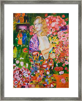 Madonna In Klimt Framed Print by Nik Helbig