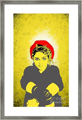 Framed Print featuring the drawing Madonna On Yellow by Jason Tricktop Matthews