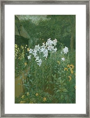 Madonna Lilies In A Garden Framed Print by Walter Crane
