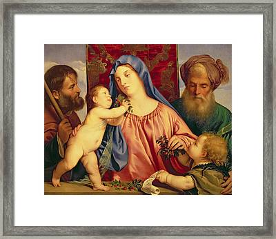 Madonna Of The Cherries With Joseph Framed Print by Titian