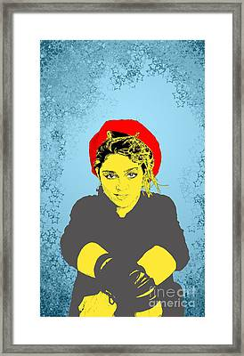 Framed Print featuring the drawing Madonna On Blue by Jason Tricktop Matthews