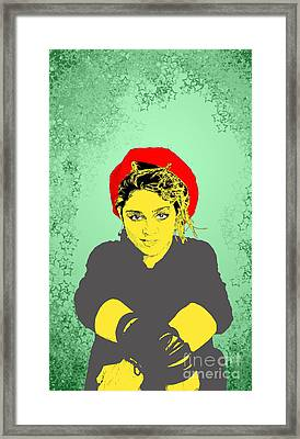 Framed Print featuring the drawing Madonna On Green by Jason Tricktop Matthews