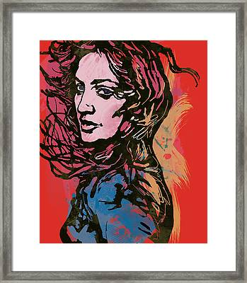 Madonna Pop Stylised Art Sketch Poster Framed Print by Kim Wang