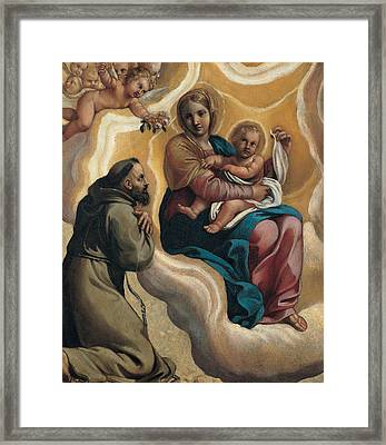 Madonna With The Child And Saint Francis Framed Print by Antonio Carracci