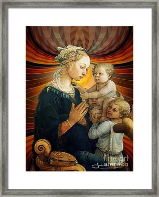 Madonna With The Child And Two Angels Framed Print