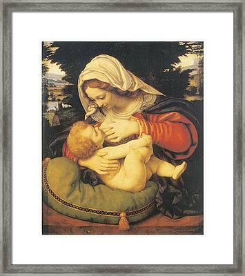Madonna With The Green Cushion Framed Print by Andrea Solari