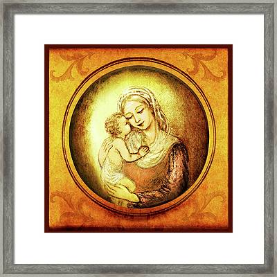 Madonna With The Kissing Child - In Golden Frame Framed Print by Ananda Vdovic