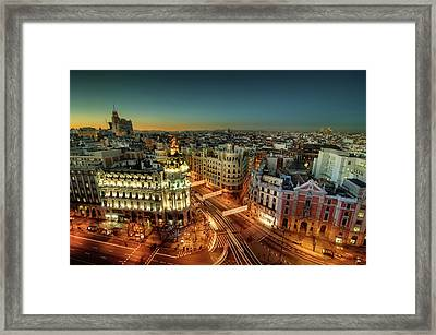 Madrid Cityscape Framed Print by Photo by cuellar
