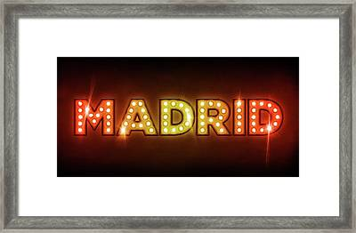 Madrid In Lights Framed Print by Michael Tompsett