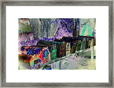 Madrid Mailboxes Framed Print by Jill Smith