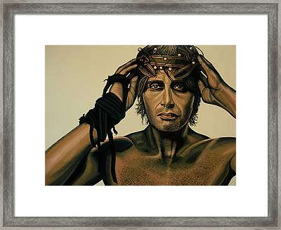 Mads Mikkelsen Painting Framed Print by Paul Meijering