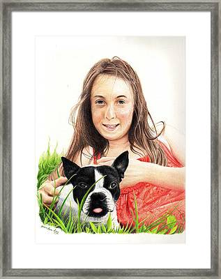Framed Print featuring the drawing Madyson And Cooper by Mike Ivey