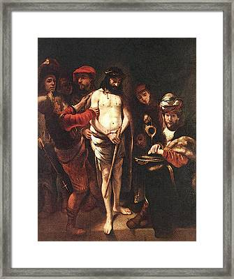 Maes Nicolaes Christ Before Pilate Framed Print by Nicolaes Maes