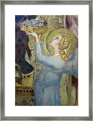 Maesta  Angel Offering Flowers To The Virgin Framed Print by Simone Martini