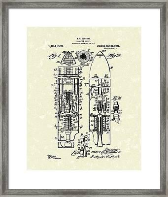 Magazine Rocket 1920 Patent Art Framed Print