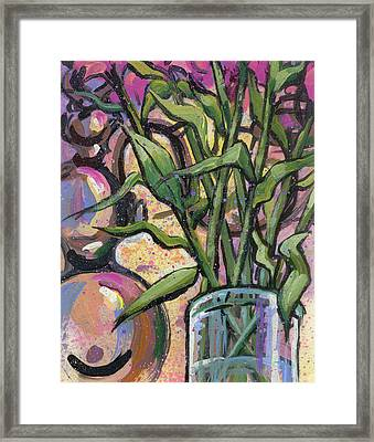 Magenta Bouquet On Mantel Framed Print