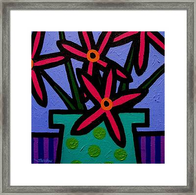 Magenta Flowers Framed Print by John  Nolan