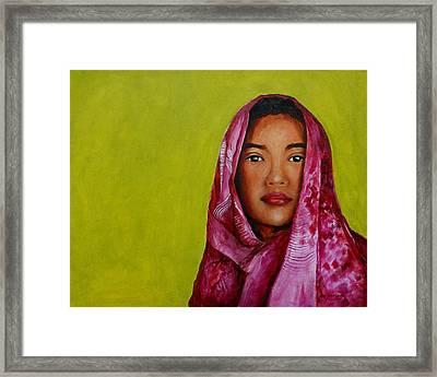 Magenta Girl Framed Print by Jun Jamosmos